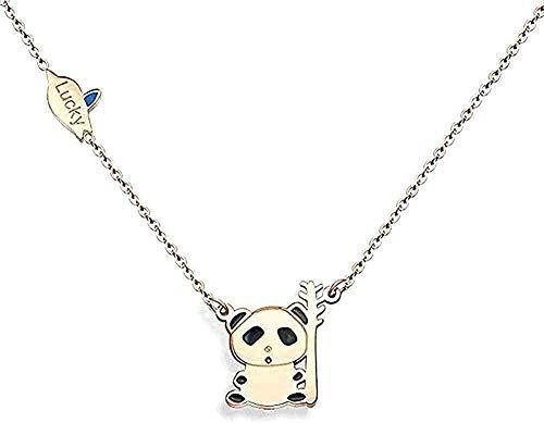 Collar Mujer Hombre Colgante Collar personalizado Panda lindo Collar creativo Cadena de clavícula salvaje Regalo de acero de titanio Colgante Accesorios para mujeres Hombres Niños Niña Regalos Regal