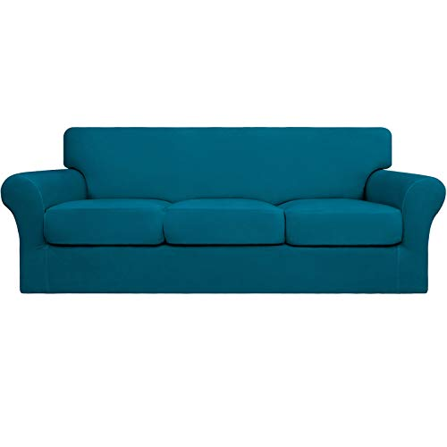 Easy-Going - Funda elástica para sofá (4 piezas, suave, lavable, para 3 cojines separados), protector de muebles para mascotas, niños (sofá, azul pavo real)