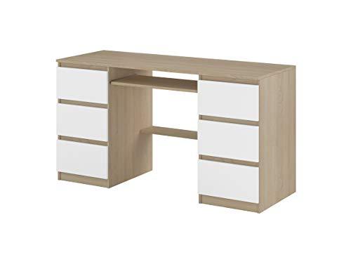 Schreibtisch mit Tischplatte, darunter EIN Tastaturauszug, Weiß/Sonoma matt