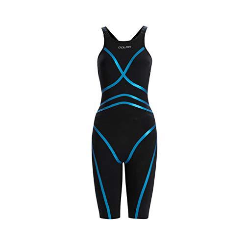 DOLFIN Women's Lightstrike Black Tight Leg Long Closed Back Swimsuit,Black (426),28L