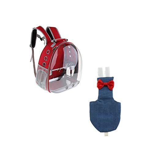P Prettyia Roja Transportadora para Pájaros con Pañales de Forma Jeans de Tela para Loro