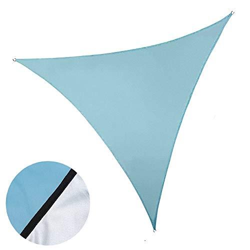 ENCOFT Parasole Tenda Vela Anti UV, Telo Triangolare per Esterno Impermeabile 4x4x4m, Tenda a Vela Protezione Solare con Corda per Giardino Campeggio, Blu