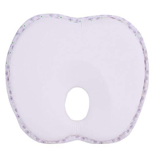 Almohada de espuma viscoelástica transpirable para dormir con cabeza plana, cojín de protección para la cabeza (color beige y manzana).