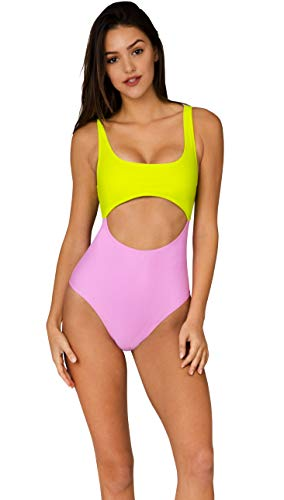 INGEAR Bathing Suits for Women Padded Hollow Out Keyhole One Piece Swimsuit Swimwear (Small, Pink and Lime)
