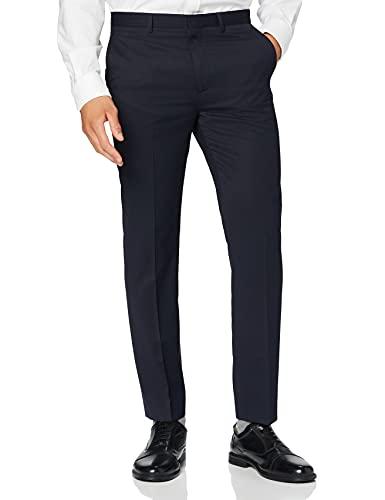 find. Pantaloni Eleganti Slim Uomo, Blu (striscia di spilli)., 38W / 32L, Label: 38W / 32L