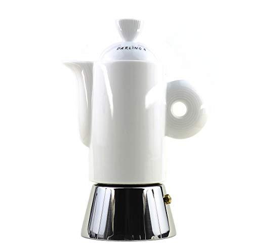 Moka Consorten Italienischer Espressokocher »Darling« | Edelstahl und weißes Porzellan | Füllmenge: 210 ml | Made in Italy