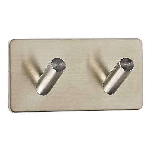 Wandhaken ADRA 2-fach (Doppelhaken) 90 x 45 x 29 mm selbstklebend 3M Edelstahl rostfrei für Küche & Bad Handtuchhalter von SO-TECH®