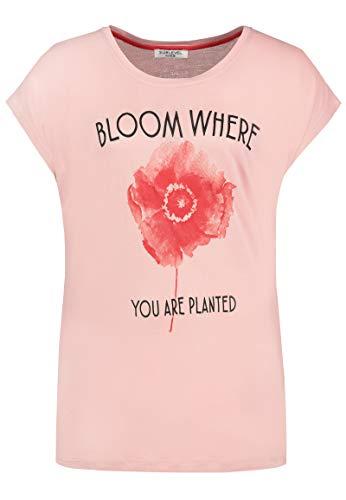 Sublevel Damen Statement T-Shirt mit Pastell Blumen-Print Rose XL
