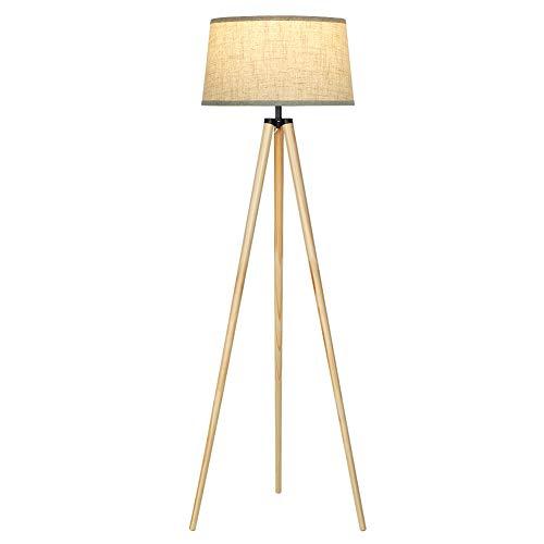 DEWENWILS Lámpara de pie trípode de madera con pantalla de lino, lámpara de pie en estilo escandinavo, para salón, dormitorio, 151 cm de altura, casquillo E27 (bombilla no incluida), certificado CE