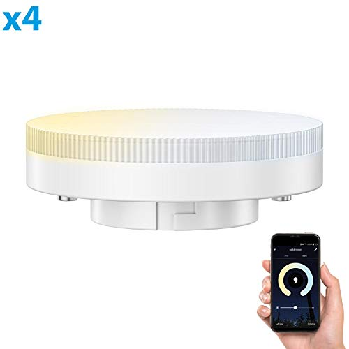 ledscom.de Smarte GX53 LED Lampe für Amazon Alexa, dimmbar 4,5W=38W 420lm 100° dimmbar und Farbtemperatur steuerbar (2700K - 4100K), 4 STK.