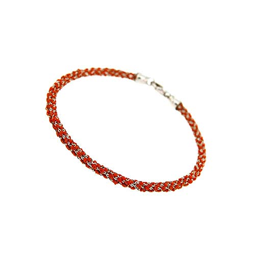 Etru Juwelen Handgemaakte Vrouw Armband Tondo Wit Zilver gaas en Oranje draad