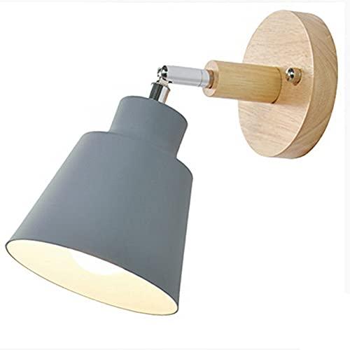 Jcevium Lámpara de pared de madera para mesita de noche, dormitorio, habitación, lámpara de pared...