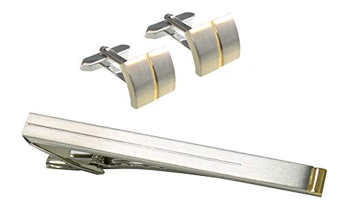 Unbekannt Set Manschettenknöpfe Krawattennadel Krawattenklammer Bicolor matt-glänzend + Silberboxen
