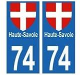 universel Autocollants plaques immatriculation département 74 Haute-Savoie Blason