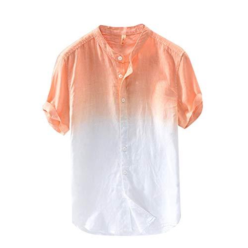 HIRIRI Summer Men's Casual Raglan Tye Die Short Sleeve T-Shirts Slim Fit Button Down Baseball Tee Tops Orange