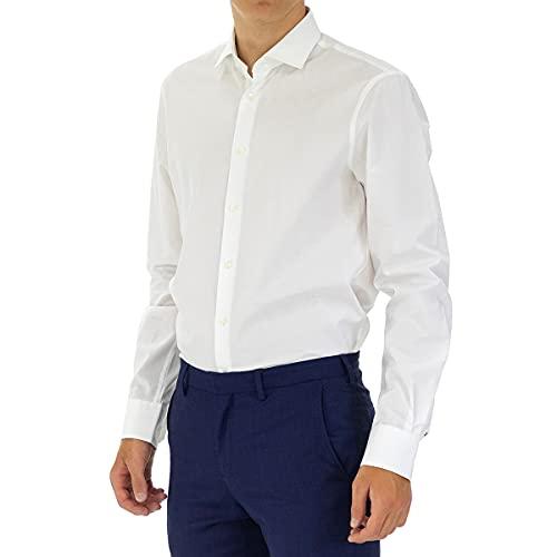 Tommy Hilfiger Core Stretch Poplin Slim Shirt Chemise Business, Blanc (100), 39 Homme