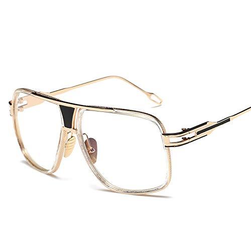 NJJX Gafas De Sol Hombre Gafas De Sol Gafas De Sol Cuadradas 11-Dorado-Transparente