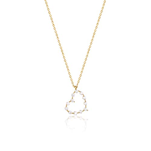 Zaza 925 Silver Gold Plated Heart Pendant Layered Gold Necklaces With Cubic Zirconia For Women 15.7' Length,Great Gift For Mom Girls-Gold