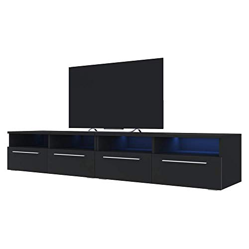 Siena Double - Meuble TV/Banc TV (200 cm, Noir Mat/Noir Brillant avec LED)