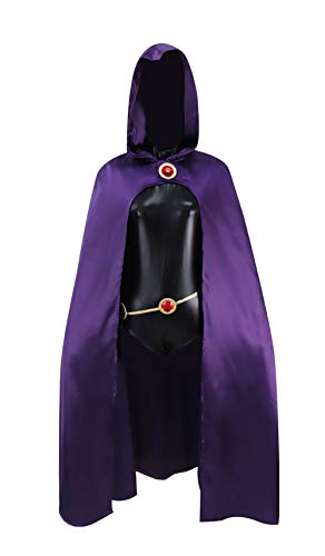 Teen Titans Role Play Outfit Raven Cosplay Costume Full Set for Halloween Comic Con Christmas(Cloak + Jumpsuit + Belt, XL)