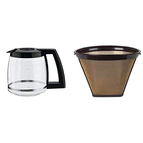 Cuisinart DCC-1200PRC 12-Cup Replacement Glass Carafe, Black, 12 Cup & GTF Gold Tone Filter
