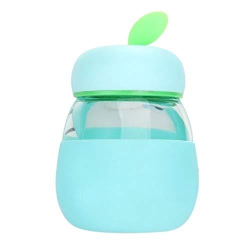 N / A Copa térmica de vacío Linda de Cristal a Prueba de Fugas Copa del bebé Vaso de Hoja Verde Taza de la Fruta Silicona Taza de Agua con Cubierta (Color : Sky Blue)