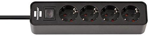 Brennenstuhl Ecolor Steckdosenleiste 4-fach (Steckerleiste mit Schalter und 1,5m Kabel) schwarz