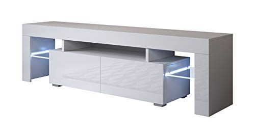 muebles bonitos – Mueble TV Modelo Unai (160x45cm) Color Blanco con LED RGB