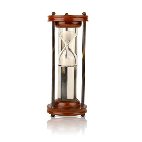 2 Minute Hourglass Sand Timer Water Clock with Sparkling White Sand 21.84 cms Brass Vintage Antique Style Nautical Collectors Gift Decorative Souvenir Unique Creative Gifts for Home Office Study Desk