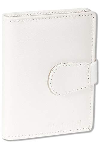 Rimbaldi® Tarjetero XXL con 20 compartimentos para tarjetas de crédito de vacuno suave y natural., beige (Blanco) - 6851602
