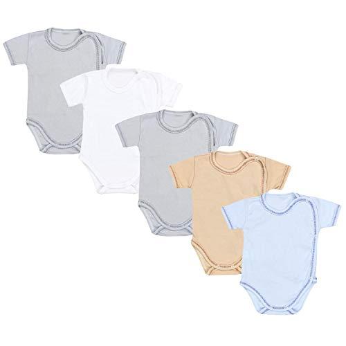 TupTam Unisex Baby Kurzarm Wickelbody 5er Pack, Farbe: Junge 2, Größe: 62