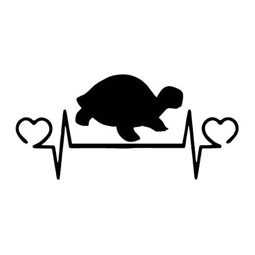 WZJH Autoadesivo dell'automobile tra Turtle Heartthrob Cartoon Car Cartoon Trim Bumper PVC Impermeabile Sunscreen Decal Nero/Argento 16.3cm X 7.6 cm (Color : Black)