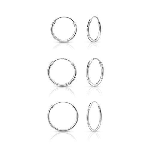 DTP Silver - 3 paia di Orecchini da donna a Cerchio- Argento 925 - Spessore 1.5 mm, Diametro 14, 16, 18 mm