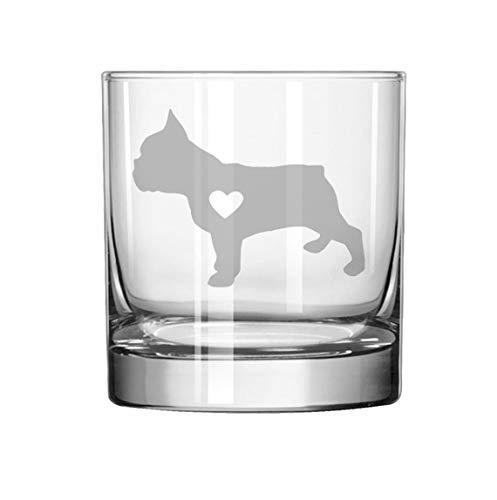 11 oz Rocks Whiskey Highball Glass Cute Frenchie French Bulldog With Heart