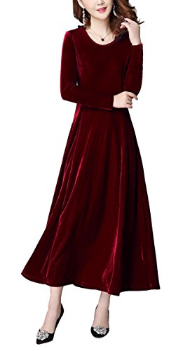 Urban GoCo Mujeres Elegante Vestidos Terciopelo Largo Vestido Manga Larga Maxi Vestidos para Cóctel Fiesta Vino Rojo M