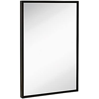 """Clean Large Modern Black Frame Wall Mirror 