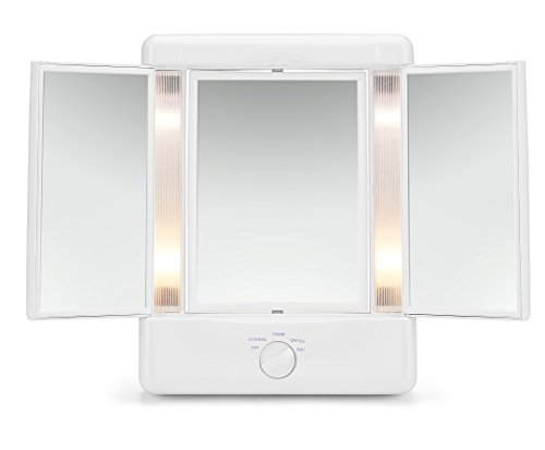 Illumina by Conair Collection Two-Sided Lighted Makeup Mirror with 3 Panels and 4 Light Settings