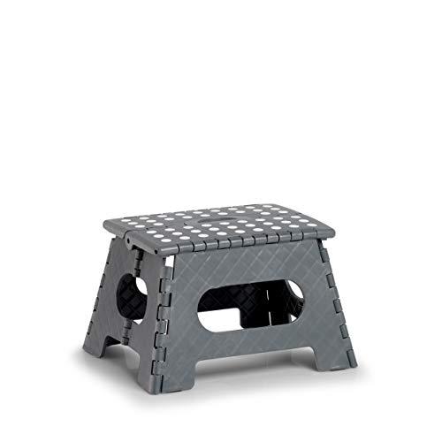 Zeller 13031 PREMIUM Klapphocker faltbar, Kunststoff, anthrazit, TÜV geprüft, belastbar bis 150 kg, ca. 35 x 28 x 22 cm, klein