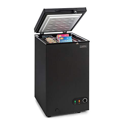 Klarstein Iceblokk - Congelador, Temperatura entre -26° y -15° C, Cesta extraíble para alimentos pequeños, Válvula de purgado, Ruedas, ECC F, Capacidad de 78 litros, Negro