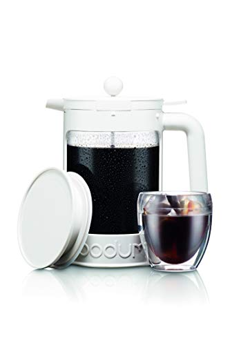 Bodum Bean Cold Brew Coffee Maker, Press, Plastic, 1.5 Liter, 51 Ounce, Black 3 Innovative locking lid system keeps your coffee hot and helps prevent spills Includes two lids; one for the fridge overnight, and one with plunger No paper filters required, means more flavor without any waste