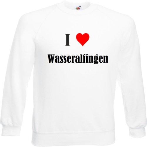Reifen-Markt Sudadera con texto 'I Love Wasseralfingen' para mujer, hombre y niños en los colores negro, blanco y azul con impresión Blanco Hombre Small
