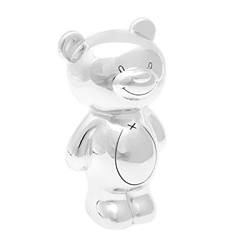 Brillibrum Design Spardose Kinder mit Namen personalisiert Teddybär Geldose versilbert Sparbüchse mit Witmung persönliche Geschenkidee