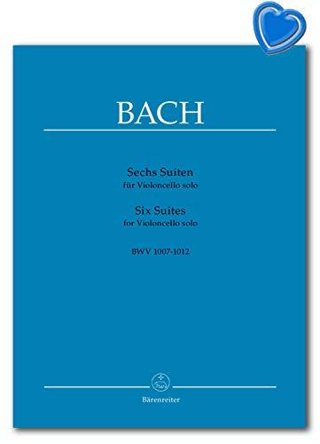 Bach Sechs Suiten für Violoncello solo BWV 1007-1012 - die Standard-Ausgabe mit Aufführungsbezeichnungen - Notenbuch, Notenklammer - 9790006401390