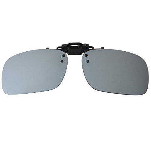 Lenti da sole a specchio LianSan, polarizzate, con clip, sovrapponibili a occhiali da sole rettangolari, ideali per guidare SILVER MIRRORED 101