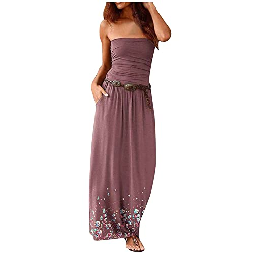 Bandeau Maxi Dress for Women Casual Summer Solid Colour Bandeau Strapless Shirred Ladies Long Maxi Dress Shirring Gathering Bandeau Long Summer Strapless Maxi Long Dress Clearance