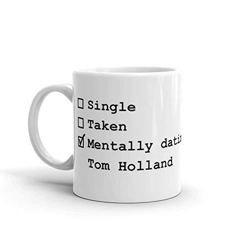 Mentally Dating Tasse Tom Holland, Keramik, 325 ml, Weiß