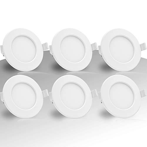 Lumare LED Einbaustrahler Dimmbar 6W 230V IP44 Ultra flach 6er Set Wohnzimmer, Badezimmer Einbauleuchten weiss 26mm Einbautiefe Mini Slim Decken Spot warmweiß