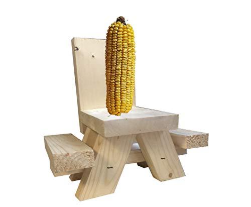 Eichhörnchen-Futterstation für Außen Picknicktisch - Handgefertigt in den USA - Verwendet Maiskolben oder Apfel für lustiges Eichhörnchenfutter - Naturholzoptik - inkl. Befestigungsschrauben