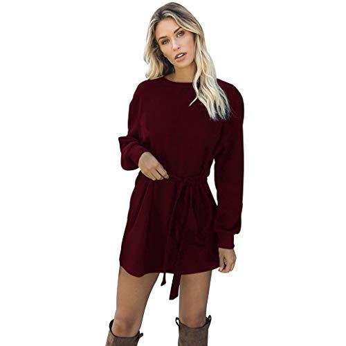 Damen Pullover Kleid Langarm Winterkleid Strickkleid Rollkragenpullover Mode Strickpullover Lose Sweatkleid Minikleid Longshirt Kleid Herbst Ballkleid (S, Rot)
