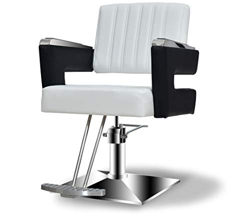 BarberPub Salon Chair for Hair Stylist, All Purpose Hydraulic Barber Styling Chair, Beauty Spa Equipment 8815 (6'' Seat Height Adjustment) (Black&White)